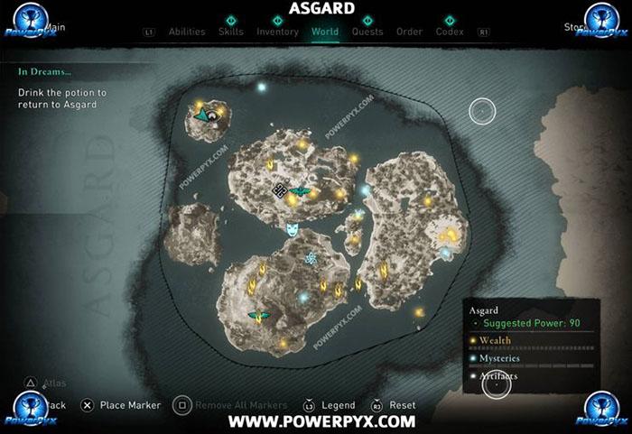 Assassin's Creed Valhalla map, asgard