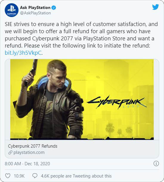 Cyberpunk 2077, Ask PlayStation twitter, Cyberpunk 2077 refund