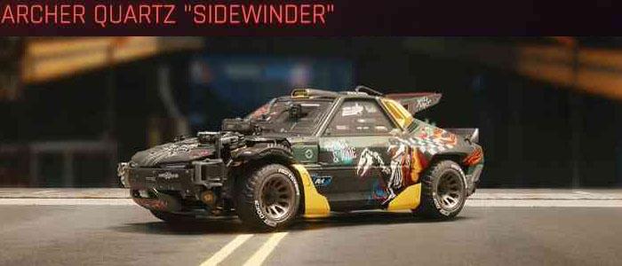 "Cyberpunk 2077, All Vehicles, พาหนะทั้งหมดภายในเกม, Archer Quartz ""Sidewinder"""