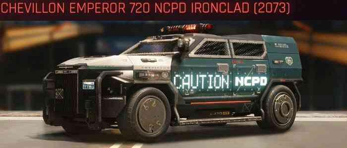 Cyberpunk 2077, All Vehicles, พาหนะทั้งหมดภายในเกม, Chevillon Emperor 720 NCPD Ironclad (2073)
